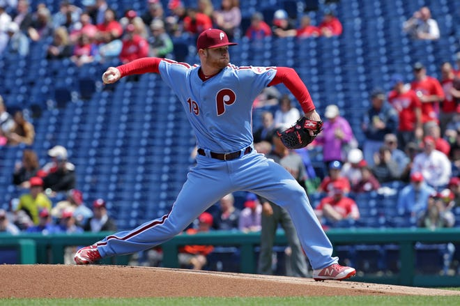 Starting pitcher Ben Lively of the Philadelphia Phillies throws a pitch in the first inning during a game against the Arizona Diamondbacks at Citizens Bank Park on April 26, 2018 in Philadelphia, Pennsylvania.