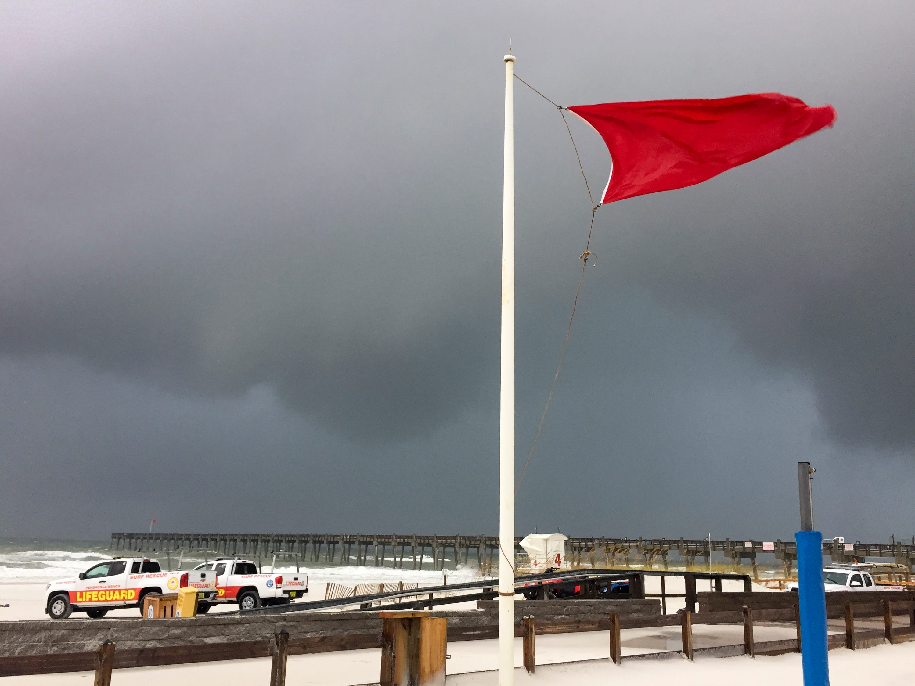 Strong winds continue to blow at Casino Beach as Tropical Storm Gordon leaves Pensacola on Wednesday, September 5, 2018.