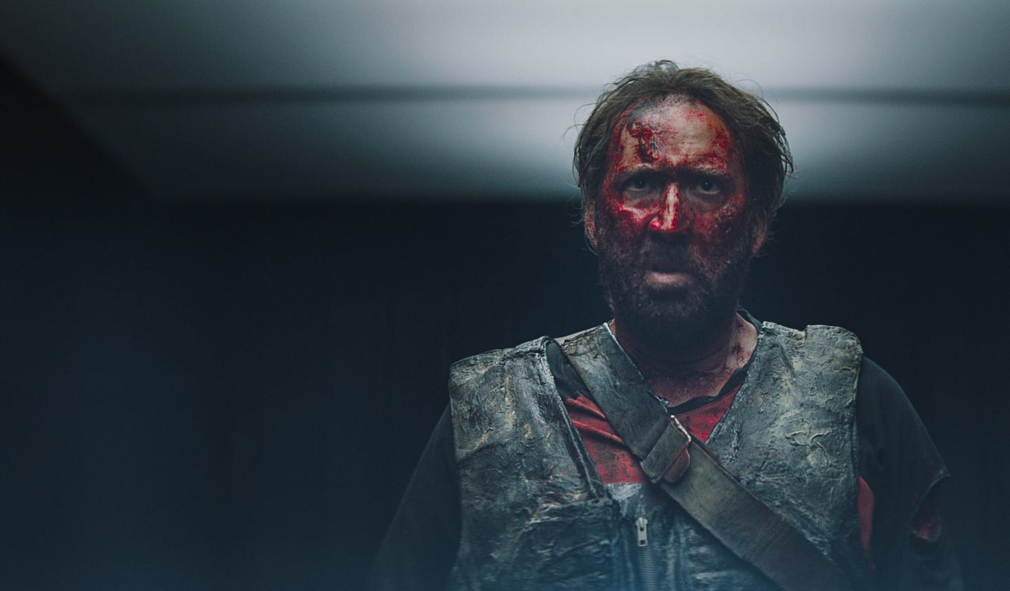"""Red Miller (Nicolas Cage) looks all red in """"Mandy."""""""