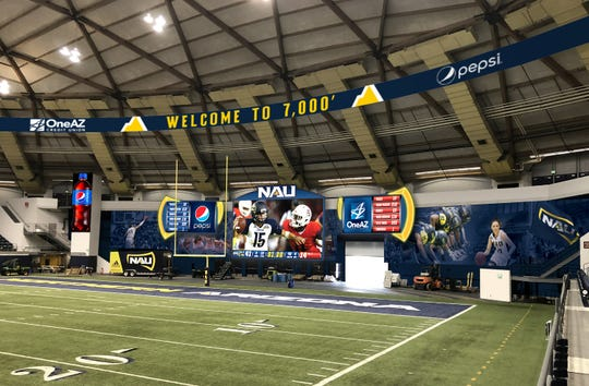 New video at score displays at the Walkup Skydome in Flagstaff.