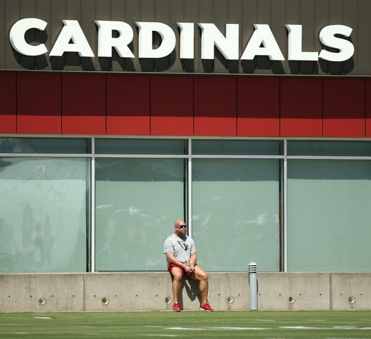 Arizona Cardinals GM Steve Keim watches practice on Sep. 5, 2018 at the Arizona Cardinals Training Facility in Tempe, Ariz.