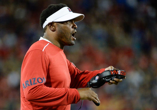 Arizona head coach Kevin Sumlin is seeking his first win as the coach of the Wildcats. Will he get it against Houston? Check out these game predictions.