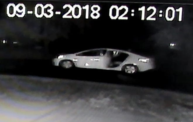 The suspect vehicle was recorded by neighborhood surveillance video early Monday morning.