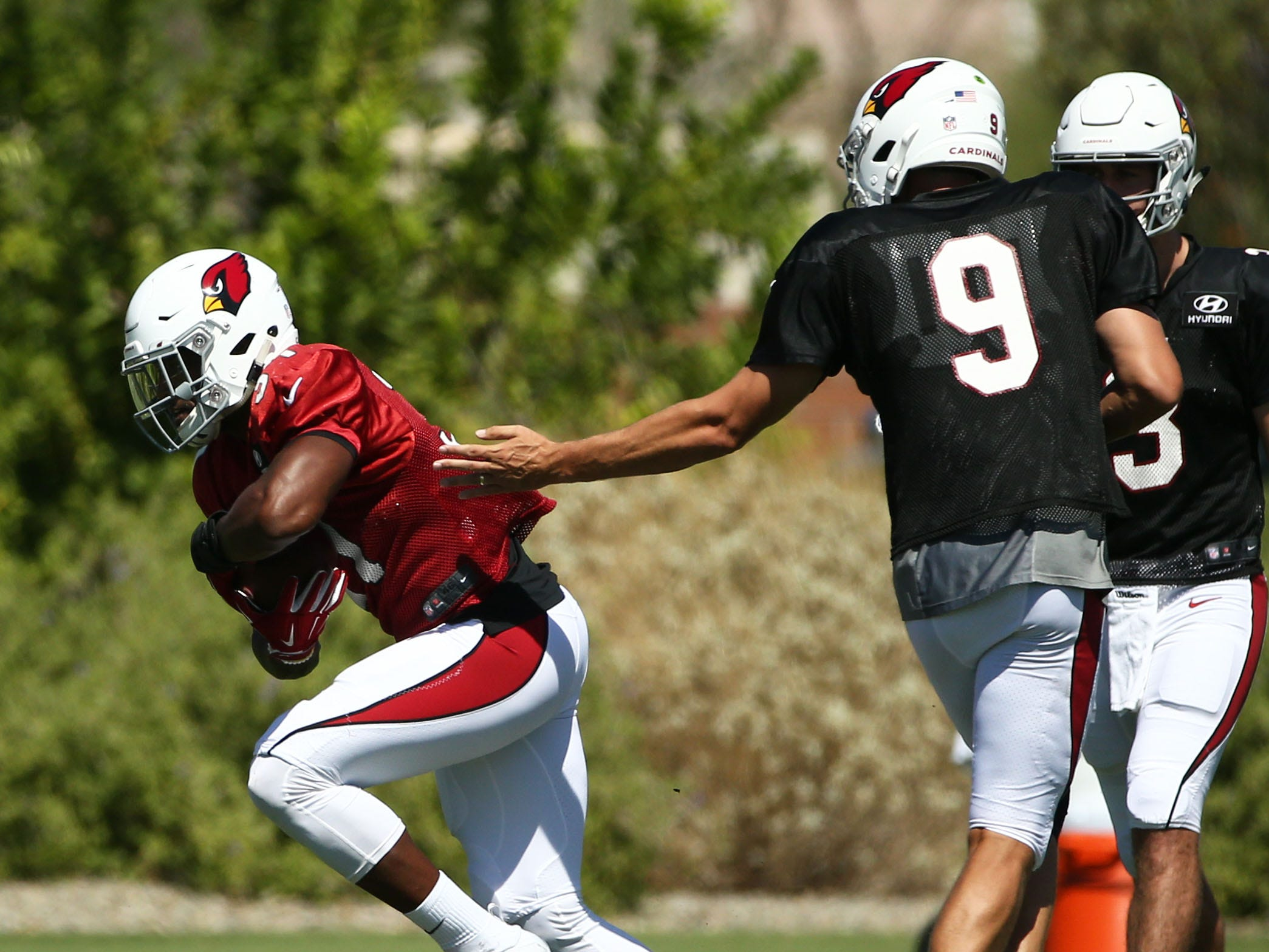 Arizona Cardinals quarterback Sam Bradford (9) hands the ball to running back David Johnson (31) during practice on Sep. 5, 2018 at the Arizona Cardinals Training Facility in Tempe, Ariz.
