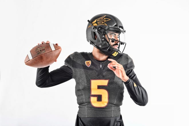 ASU senior quarterback Manny Wilkins poses in the 2018 Black Out uniform for the Michigan State game.