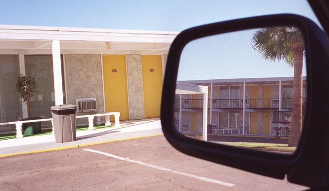 """The motel in Gila Bend, AZ, where David Whiting, business manager of actress Sara Miles, died during the filming of the 1973 movie """"The Man Who Loved Cat Dancing"""" with Miles and Burt Reynolds. This photo was taken in 2000."""