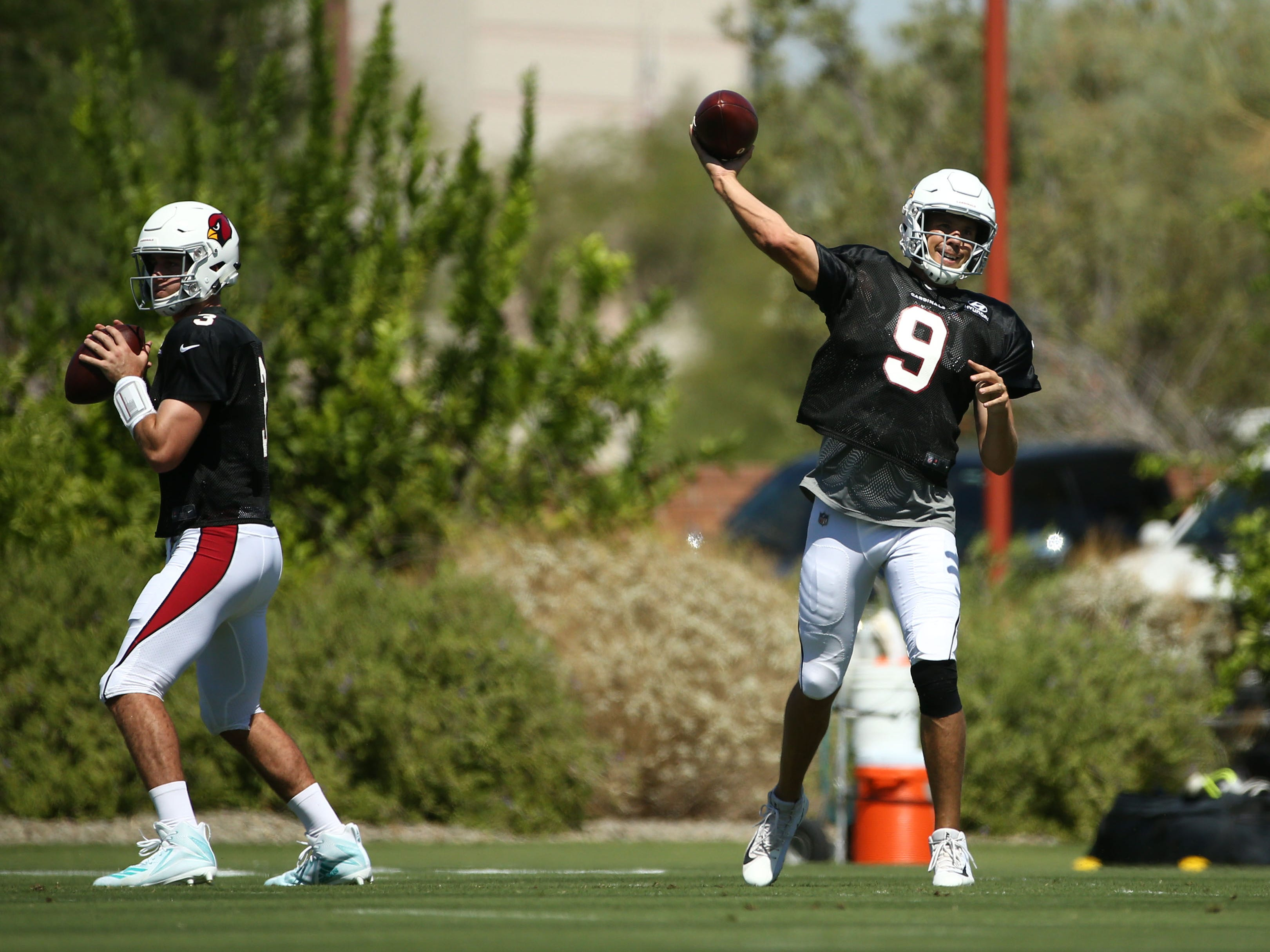 Arizona Cardinals quarterback Sam Bradford (9) during practice on Sep. 5, 2018 at the Arizona Cardinals Training Facility in Tempe, Ariz.