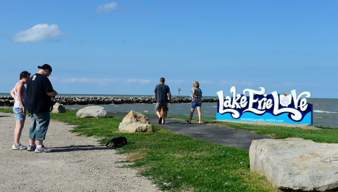A new sign greets visitors at Waterworks Park in Port Clinton.