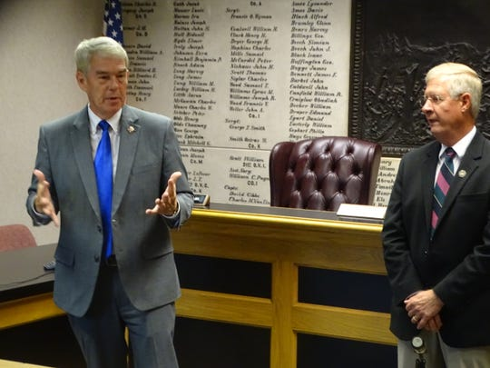 State Sen. Randy Gardner, left, and State Rep. Steve Arndt discussed their opposition to Issue 1 and the statewide ballot initiative's potential impact on addiction recovery efforts in Ottawa County Thursday at the Ottawa County Courthouse.
