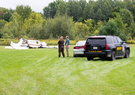 Investigators are on the scene of a fatal plane crash that occured Thursday, Sept. 6, 2018, near Wadhams and Yager roads in Kimball Township. According to a news release, the pilot was the only person in the small aircraft.