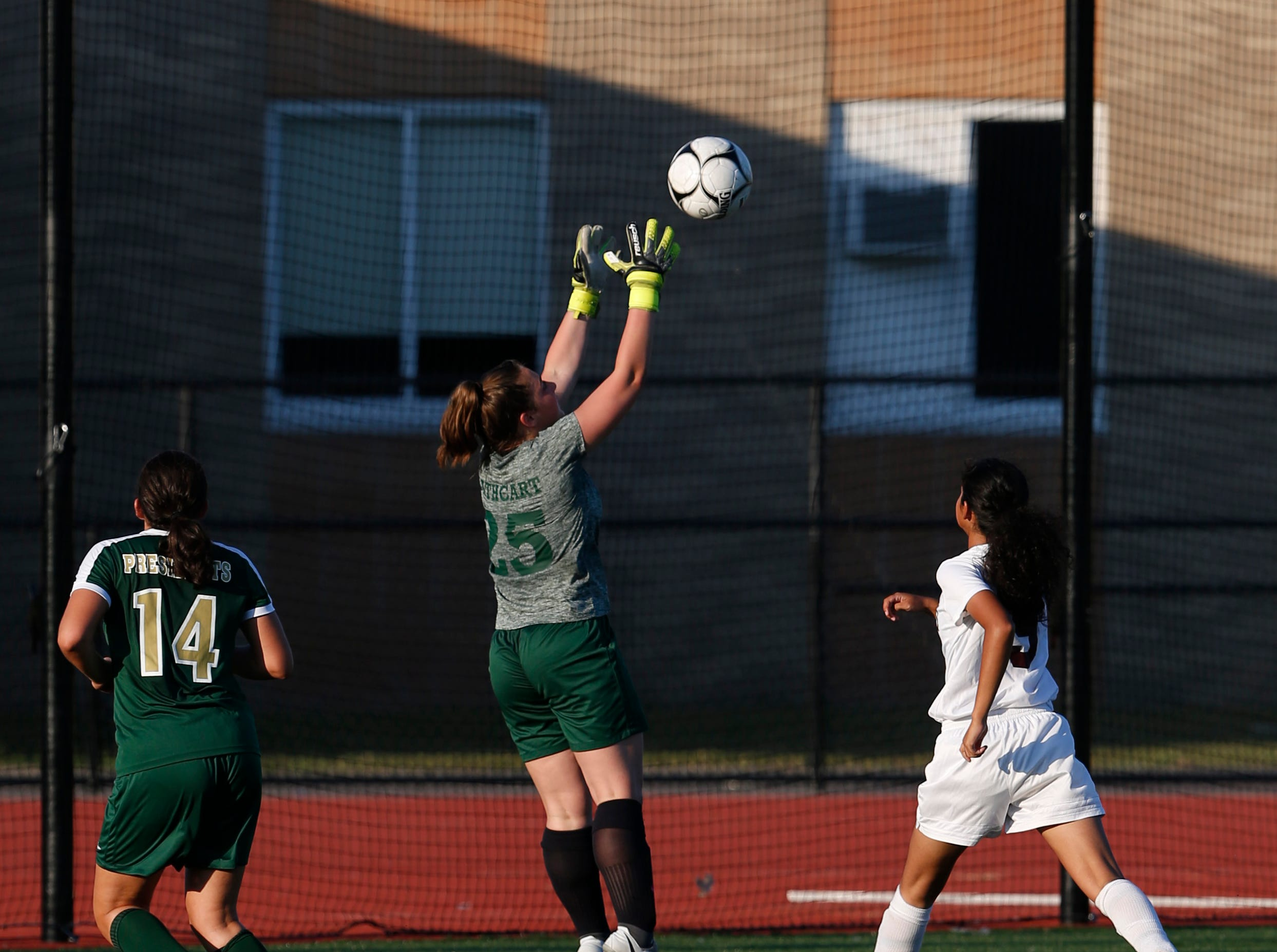FDR's Alana Cathcart jumps for the ball during Wednesday's game in Hyde Park on September 5, 2018.