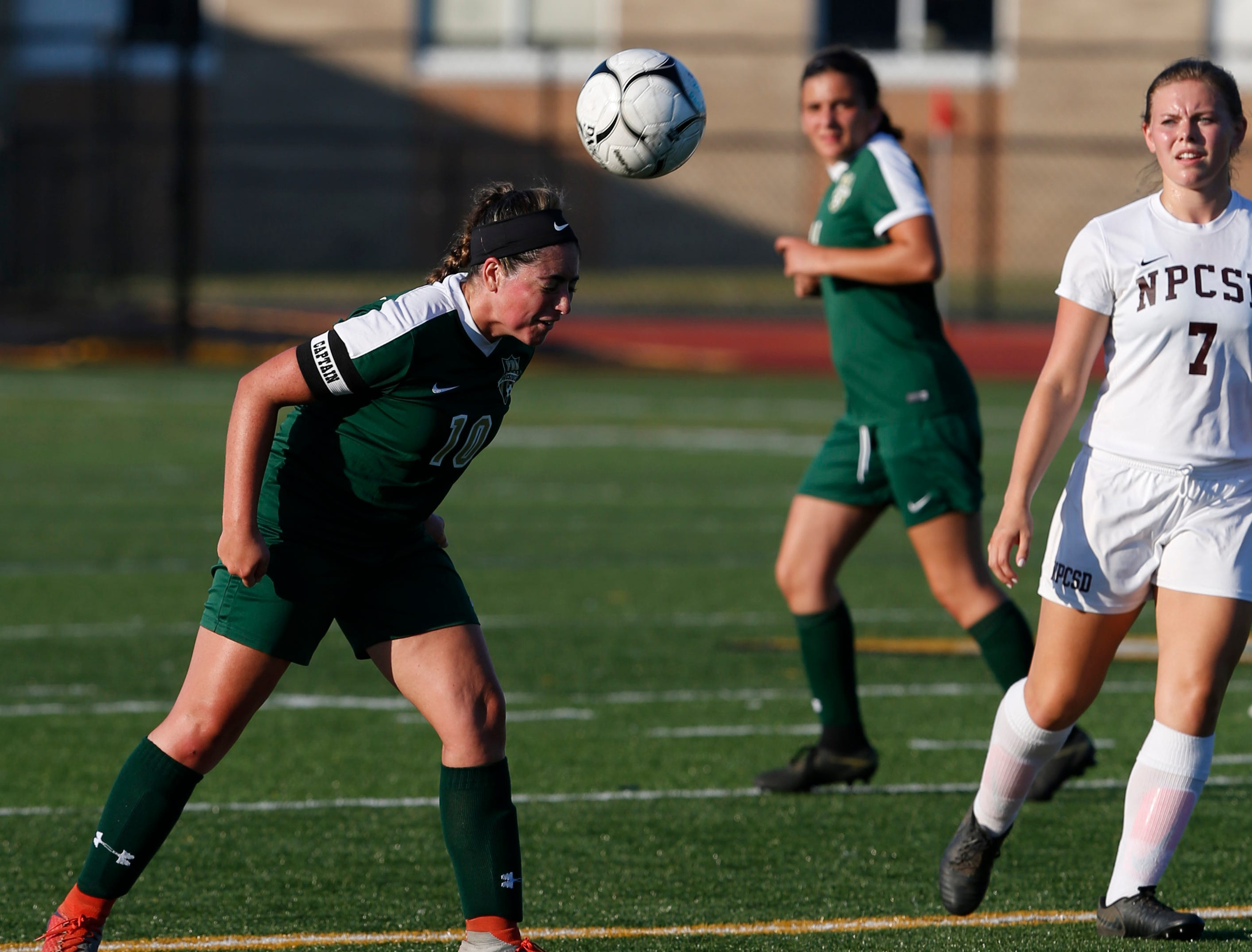 FDR's Frances Schembri headers the ball during Wednesday's game versus New Paltz in Hyde Park on September 5, 2018.