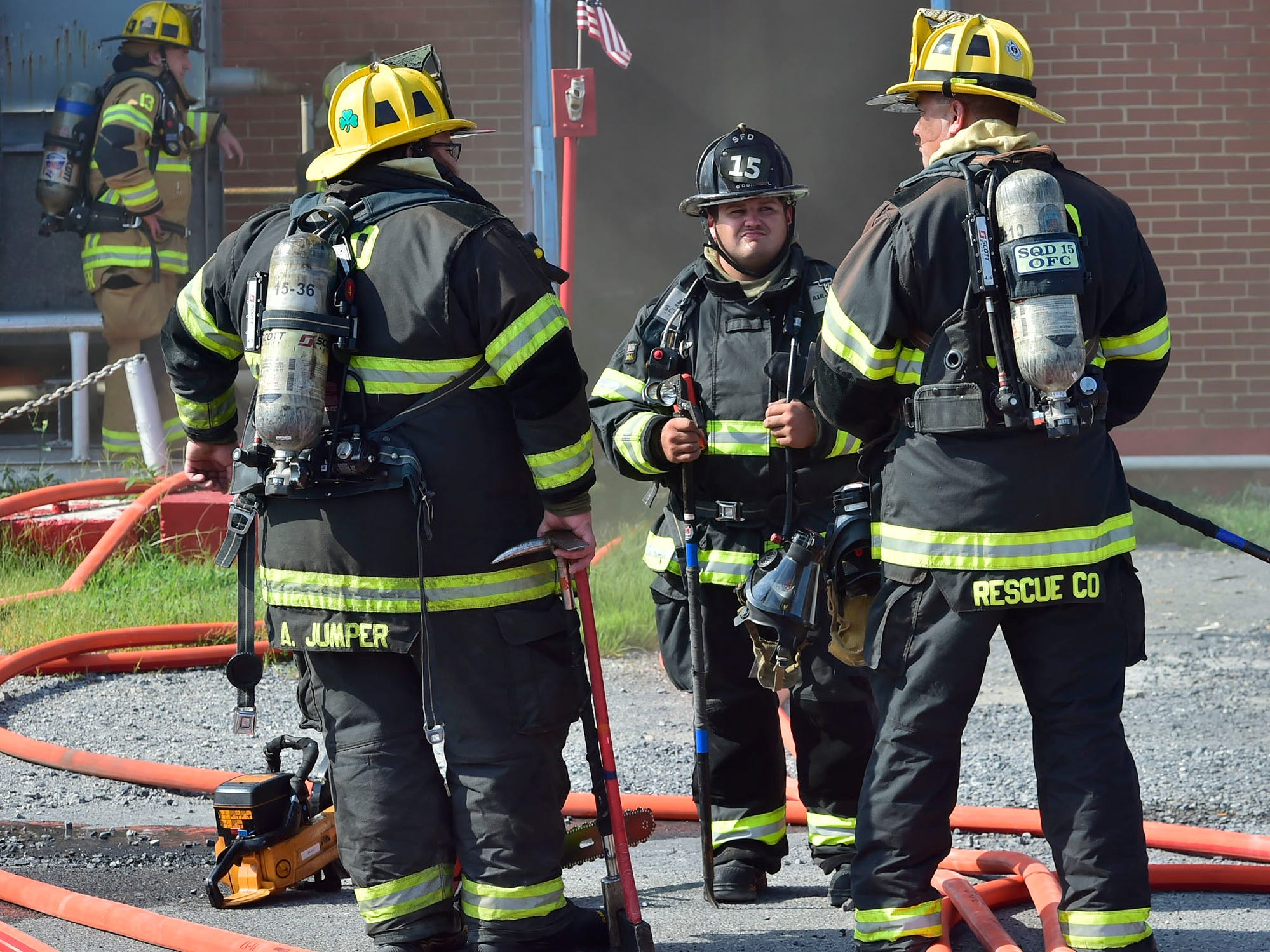 Firefighters are at Zero Ice Corp., 42 Siloam Road, Chambersburg, for a reported fire in the building on Thursday morning, Sept. 6, 2018. The fire was contained to the interior of the building.