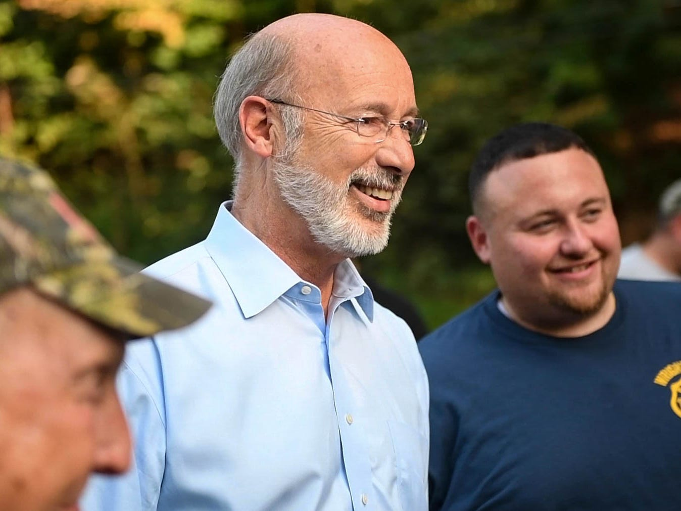 Gov. Wolf meets volunteers and homeowners affected by the flood upon arriving in Accomac, on Wednesday, September 5, 2018.