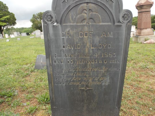 A slate grave marker at the Slateville Presbyterian Church cemetery showing scribe lines.