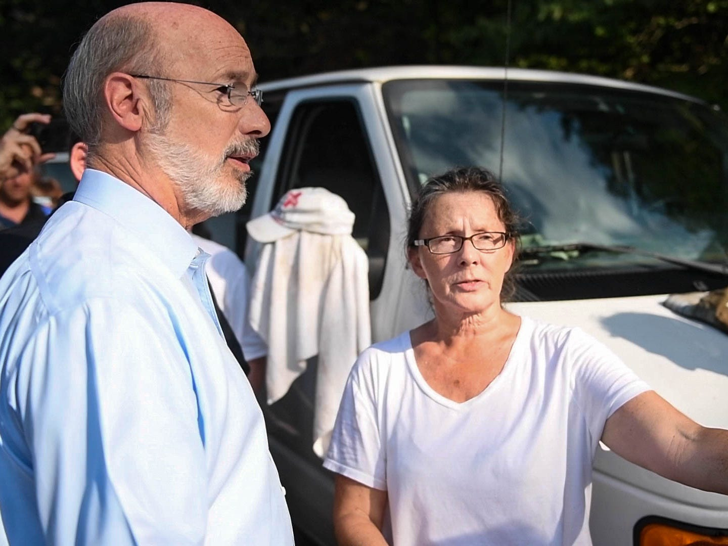 Gov. Wolf meets Amy Nevin, a homeowner whose property was devastated by the flood, during his visit to York County, on Wednesday, September 5, 2018.