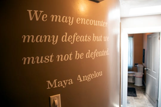 A quote is seen on one of the walls of Survivors Inc., a domestic violence shelter in Adams County, Pennsylvania. October is national Domestic Violence Awareness Month.