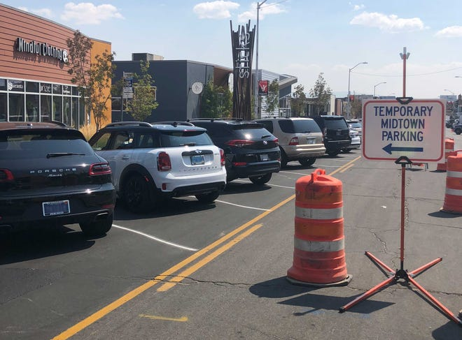Temporary angled parking spaces have been set up on parts of Virginia Street through Midtown Reno while construction continues through February 2019.