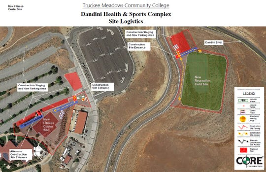 A rendering shows the proposed location for TMCC's new soccer/track field and a new fitness center.