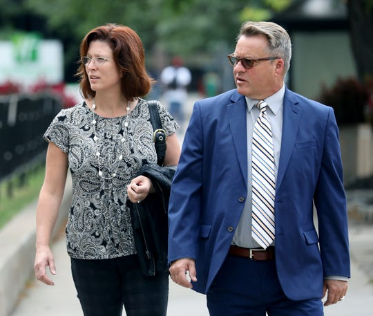 Maggie Tobin and Ian MacDonald arrive at federal court on Sept. 6.