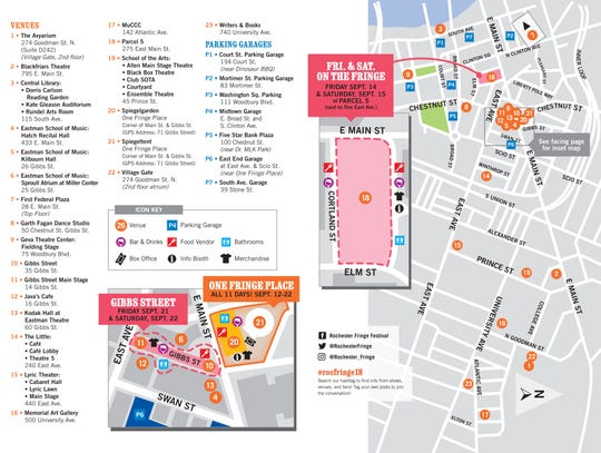 2018 KeyBank Rochester Fringe Festival map.