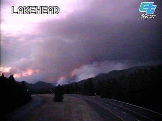The Caltrans camera on Wednesday, Sept. 5, 2018 shows the Delta Fire as it burns north of the area.