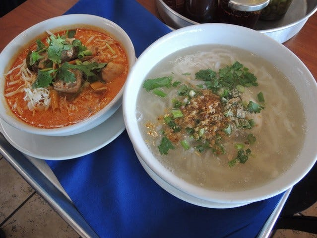 Two Lao-style noodle soups at Champa Garden - kaow poont, left,  and kaow paik