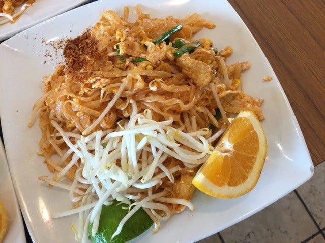 Pad Thai, the most popular dish at Champa Garden.