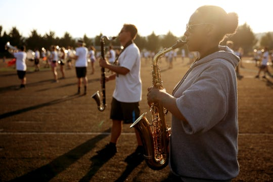 The West Salem marching band rehearses at West Salem High School on Wednesday, Sep. 5, 2018.