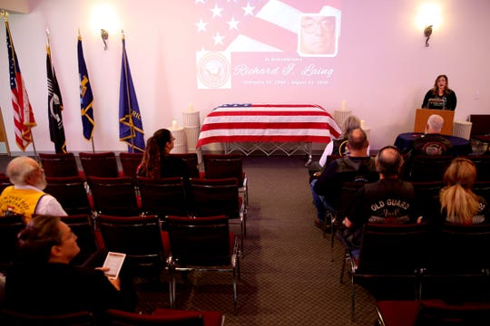 A memorial service for Richard Laing, a homeless U.S. Navy veteran, at Weddle Funeral Service in Stayton on Thursday, Sep. 6, 2018.
