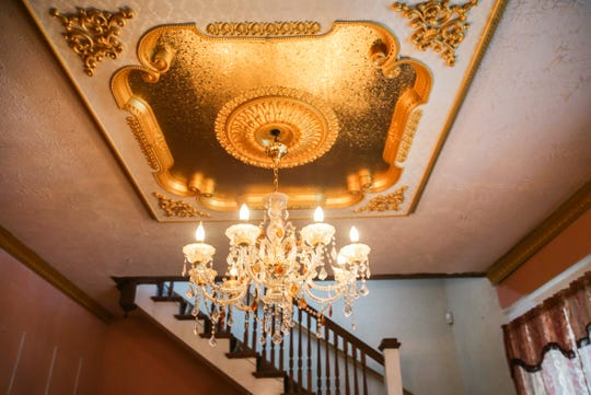 The chandelier in the front room of a 1904 home at 402 W Ave. D. The house is for sale and was a restaurant called Butler's Pantry as well as a private family residence.