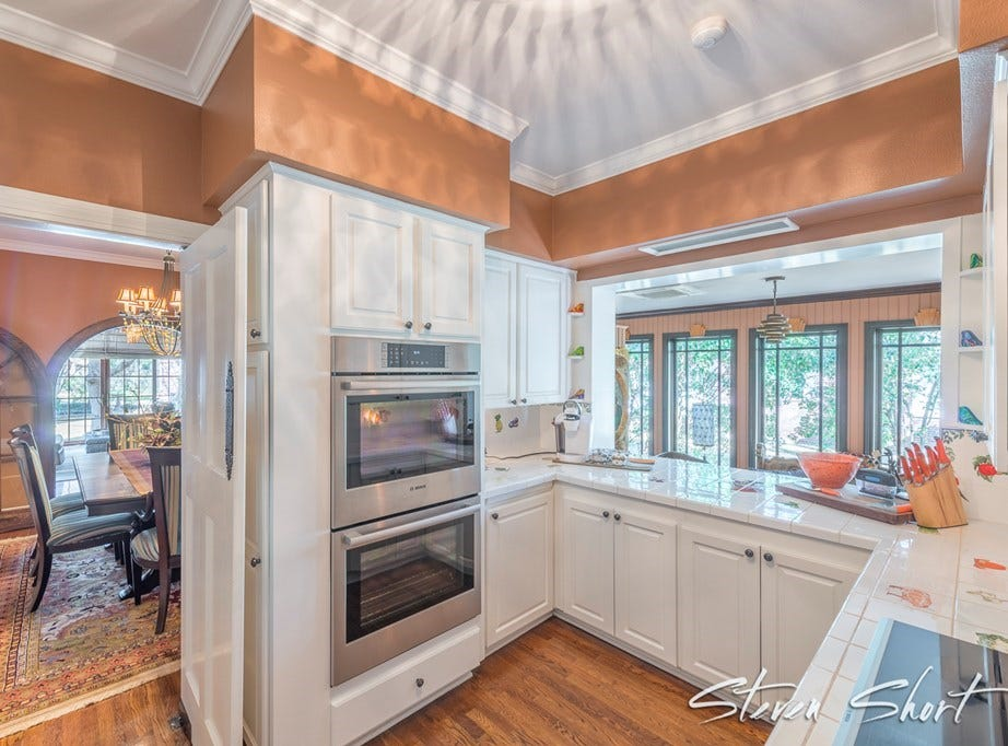 The kitchen at 1315 S Madison offers a window into the rest of the home.