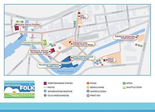 This map shows the layout for the 2018 National Folk Festival, which takes place in downtown Salisbury from Sept. 7 - 9.