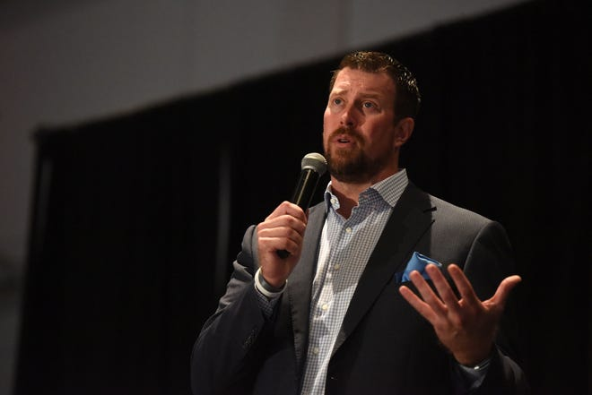 Former NFL quarterback Ryan Leaf speaks about drug addiction at the Avera and Department of Justice Conference at the Sioux Falls Convention Center in Sioux Falls, S.D. on Thursday, Sept. 6, 2018.