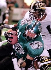 Kalen DeBoer as a wide receiver for the Sioux Falls Cobras indoor football team in 2000.
