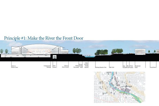 This design, which shows an event center in downtown Sioux Falls, was part of Nick Bigelow's 250-page thesis for a master's degree in urban design.