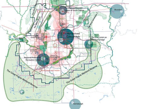 Nick Bigelow mapped out Sioux Falls landscape and commercial hubs as part of his 250-page thesis for his master's degree in urban design