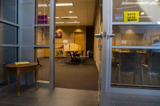 Vote here signs displayed at the Instructional Planning Center on Thursday, Sept. 6, 2018 in Sioux Falls, S.D.