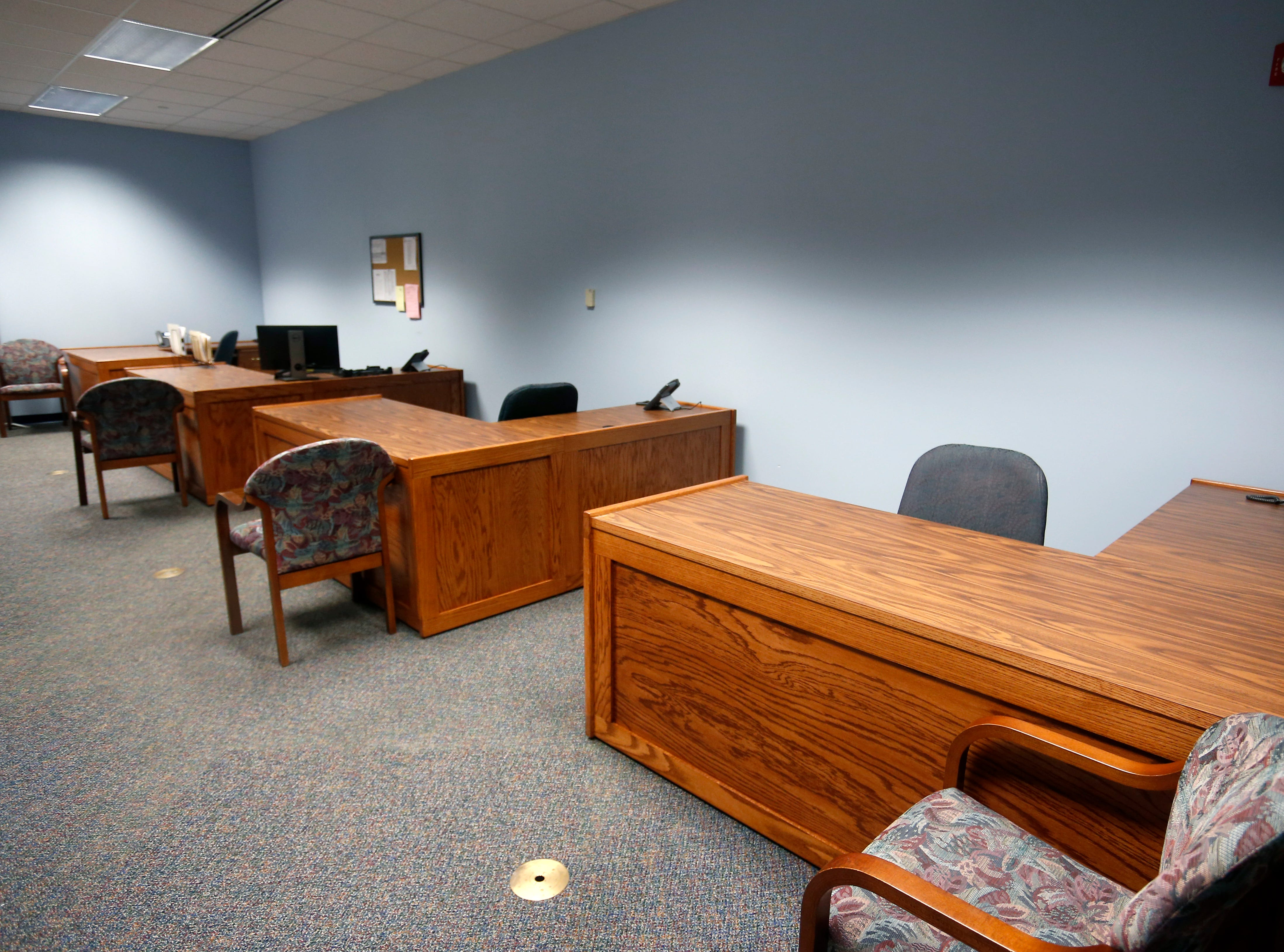 Desks for police and sheriff's department officials at the Family Justice Center located on the second floor of the Greene County Courthouse on Thursday, Aug. 30, 2018.