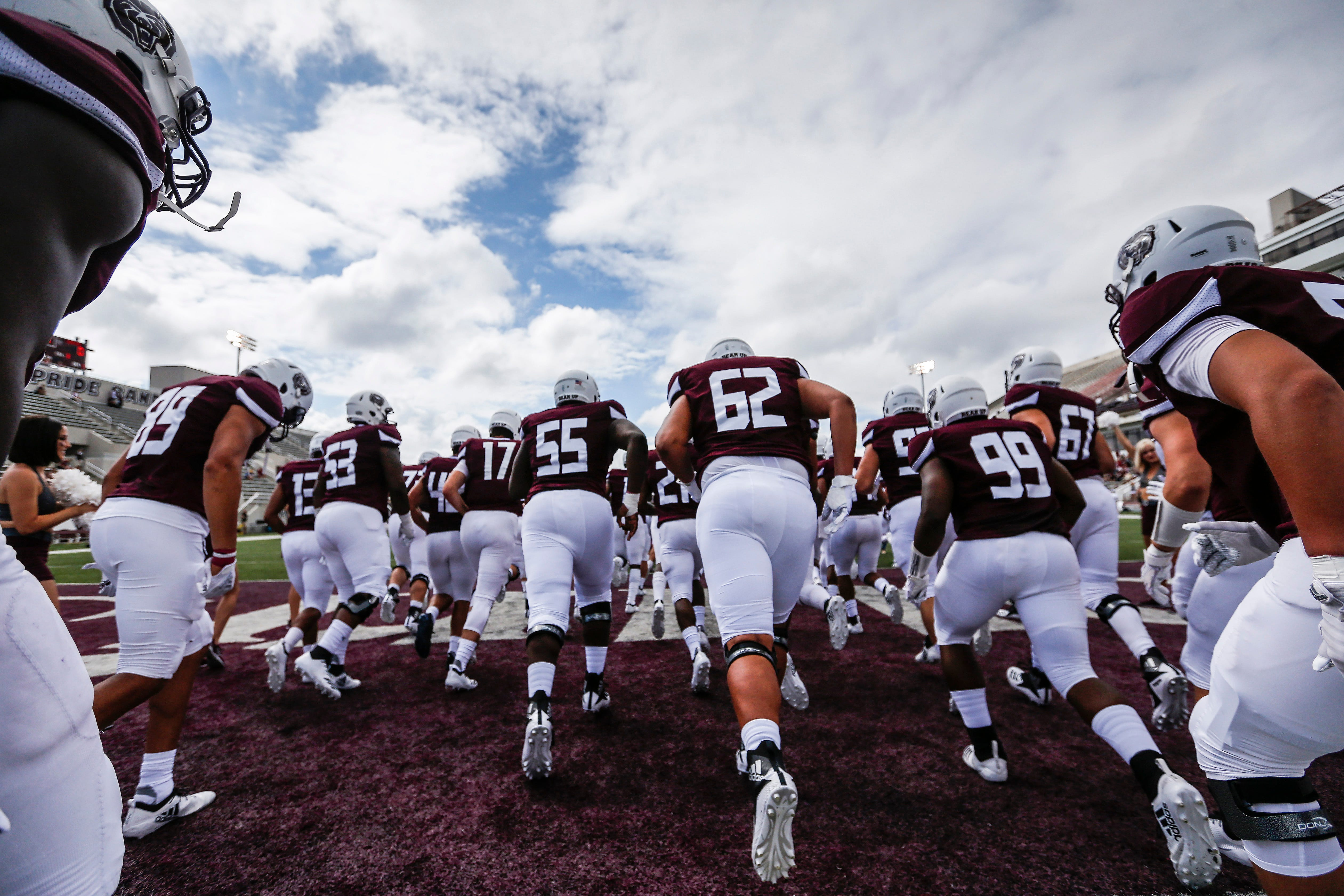 The Missouri State Bears take the field in the home opener at Plaster Stadium against Lincoln University on Thursday, Sep. 6, 2018.