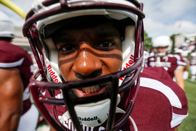 Alan Worsham, of Missouri State, gets ready before the Bears' home opener at Plaster Stadium against Lincoln University on Thursday, Sep. 6, 2018.