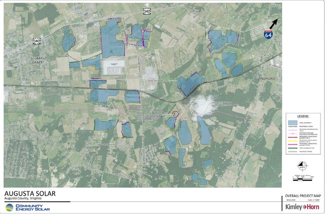 Proposed map of the solar farm spread out in Lyndhurst and Stuarts Draft.
