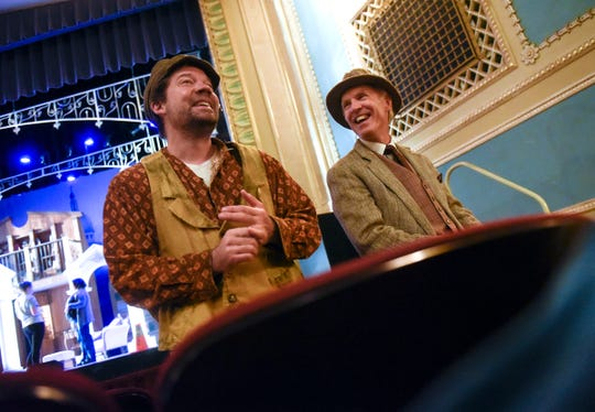 """Dr. Stephen Cragle and Dr. Joel Miron talk about their roles in the GREAT Theatre production of """"My Fair Lady"""" during an interview Tuesday, Sept. 4, at the Paramount Center for the Arts in St. Cloud."""