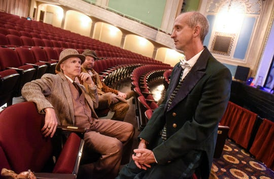 """Dr. Joel Miron, Dr. Stephen P. Cragle and Dr. George Morris  talk about their roles in the GREAT Theatre production of """"My Fair Lady"""" during an interviewTuesday, Sept. 4, at the Paramount Center for the Arts in St. Cloud."""