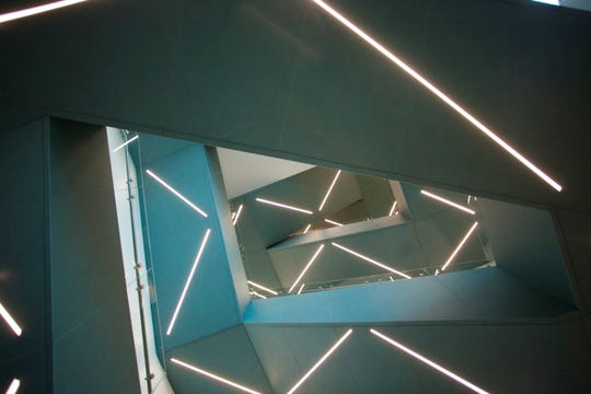 Stairs create interesting angles in the expanded Dixie Regional Medical Center.