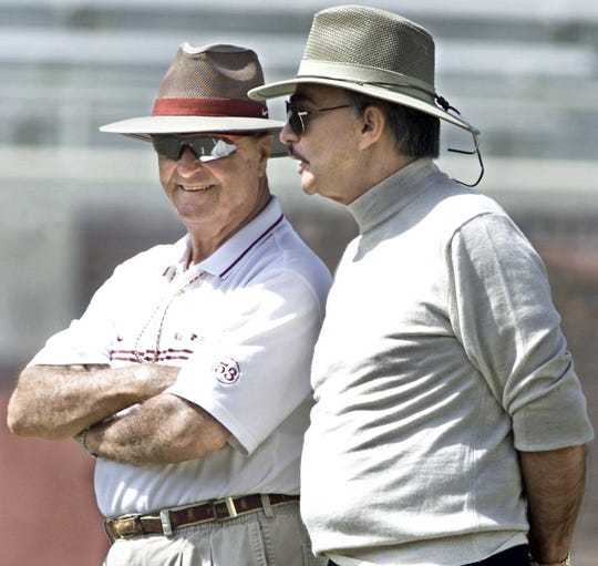 FSU Head football coach Bobby Bowden and actor Burt Reynolds, talk during a spring scrimmage at Doak Campbell Stadium.