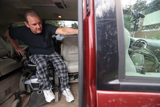 Dale Beene, a quadriplegic and musician demonstrates how he is able to maneuver into the driver's seat of a modified van he inherited, which has been customized to allow him to drive. Beene was injured after a fall three years ago, partially caused by Syringomyelia, a rare disorder that effects the spinal cord and says the gift of the van has changed his life.