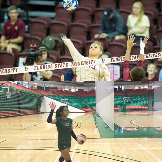 Above: FSU's Payton Caffrey. Below: FAMU's Valentina Carrasco. Both women will be in action Friday and Saturday in the Home2 Suites Seminole Invitational.