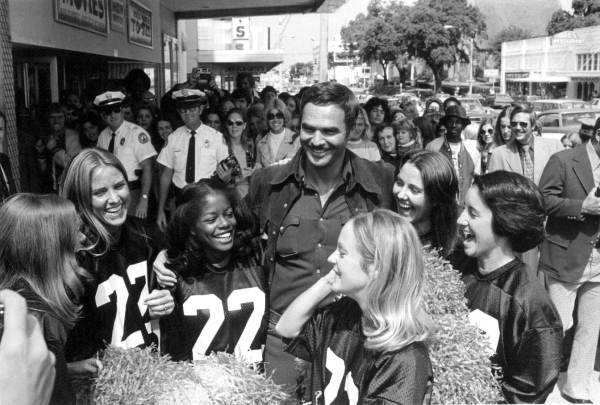 Burt Reynolds greets his fans in downtown Tallahassee at the height of movie star powers.