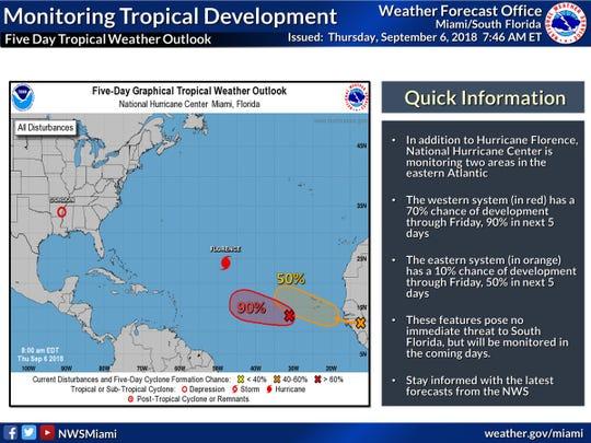 Monitoring tropical development 8 a.m., Sept. 6, 2018.